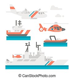 Flat design coast guard vehicle