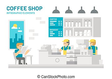 Flat design coffee shop infographic