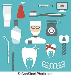 flat design collection of dentistry theme