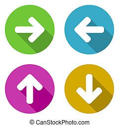 Flat design colorful arrows icon set