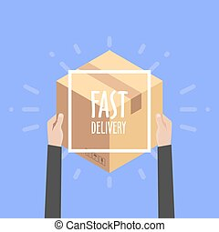 Flat design colorful vector illustration concept for delivery service, e-commerce, online shopping, receiving package from courier to customer