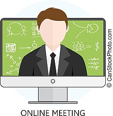 Concept for Online Meeting - Flat design Colorful Vector...