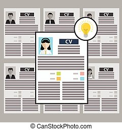 Flat design colorful vector illustration concept for searching talented efficient employees, headhunting, selecting professional staff isolated on stylish background