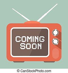 Flat Design Coming Soon Vector Title on Retro TV Screen