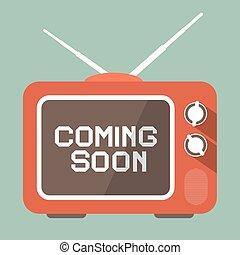 Flat Design Coming Soon Vector Title on Retro TV Screen