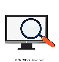 computer monitor and magnifying glass icon