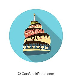 Flat Design Concept Cake with Candles Vector Illustration With L