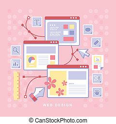 flat design concept f web design