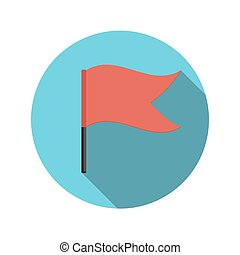 Flat Design Concept Flag Vector Illustration With Long Shadow.