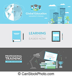 Flat design concept for education - Concepts for web banners...