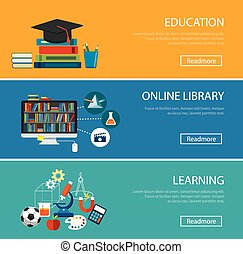 flat design concept for education ,online library, learning