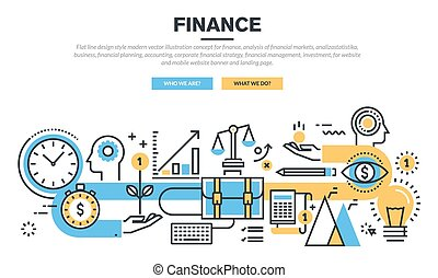 Flat design concept for finance - Flat line design concept...