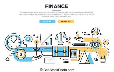 Flat design concept for finance - Flat line design concept...