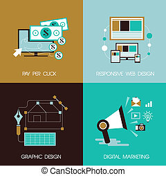 flat design concept for marketing and design