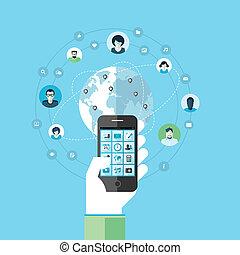 Flat design concept for smart phone