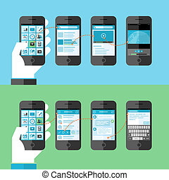 Flat design concept for smart phone