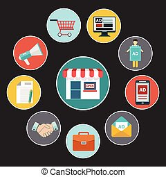 flat design concept icons for web and mobile phone services and apps. Icons for mobile marketing and online shopping