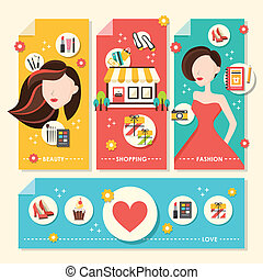 flat design concept illustration for beauty and shopping