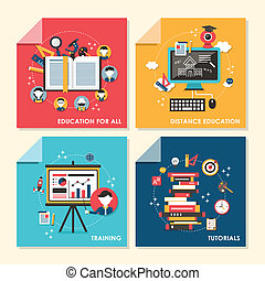 flat design concept illustration for education and training