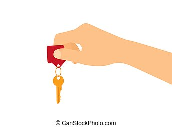 Flat design concept - male or female hand holding house key. Isolated on white background, vector