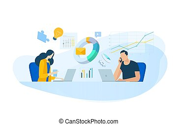 Flat design concept of business analysis, project management, market research