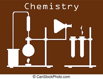Flat design concept of chemistry experiment on brown background, vector illustration. Chemistry laboratory workspace.