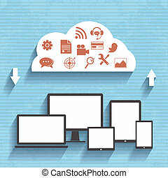 Flat design concept of cloud service. - Flat design concept...