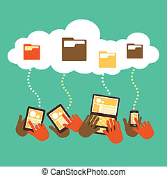 flat design concept of cloud storage
