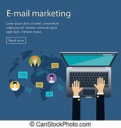flat design concept of e-mail marketing