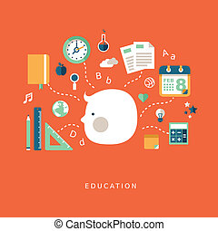 flat design concept of education