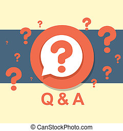 flat design concept of Q&A question and answer