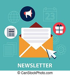Flat design concept of regularly distributed news publication via e-mail with some topics of interest to its subscribers