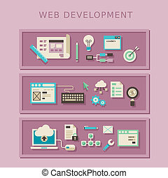 flat design concept of web development