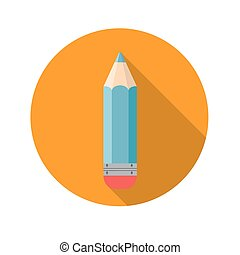 Flat Design Concept Pencil Icon Vector Illustration with Long Sh