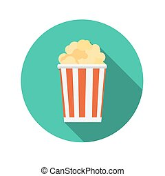 Flat Design Concept Popcorn Icon Vector Illustration With Long S