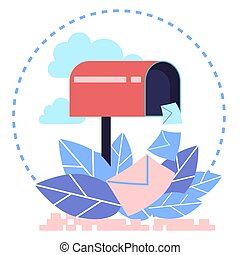 Flat design concept vector illustration of mailbox. Sending and receiving letters in an envelope by mail.