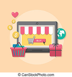 Flat design concept with icons of online shop ideas symbol...