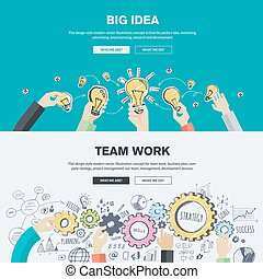 Flat design illustration concepts for big idea, marketing, brainstorming, business, team work, company strategy, project management. Concepts can be used for background, web banner, promotional materials, poster, presentation templates, advertising and printed materials.