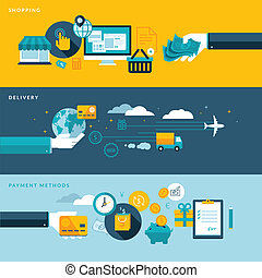 Set of flat design vector illustration concepts for online shopping, delivery and payment methods. Concepts for web banners and printed materials.