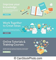 Flat design concepts for education - Flat design vector ...