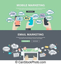 Flat design concepts for marketing
