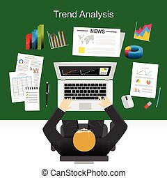 Flat design concepts for trend analysis, marketing analysis, statistics, business plan.