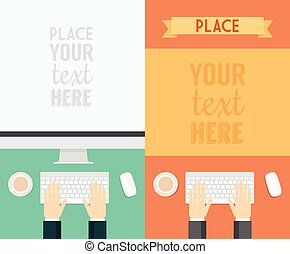Flat Design Concepts Web Banner Promotional Trendy - Flat...
