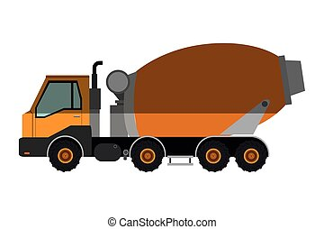 concrete mixer truck icon - flat design concrete mixer truck...