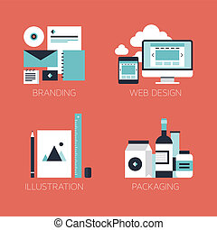 Flat design corporate style icons - Flat design modern...