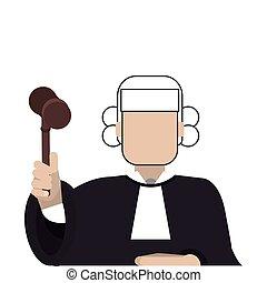 flat design court judge icon vector illustration
