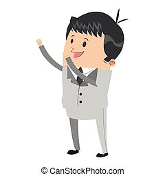 cute businessman with arms up icon