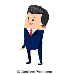 cute businessman with dollar sign eyes icon