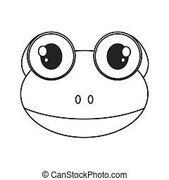 cute frog cartoon icon