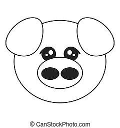 cute pig cartoon icon